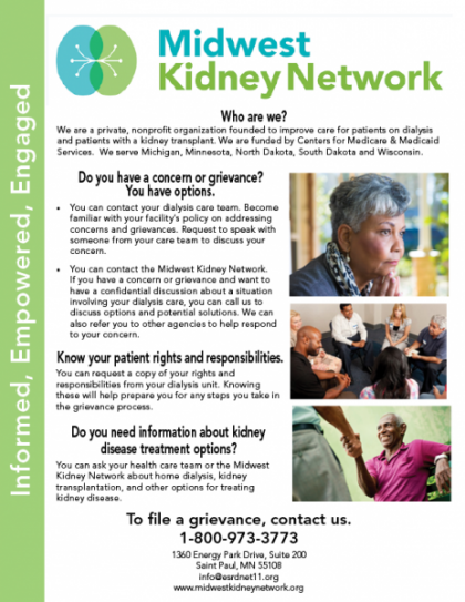 Image of Midwest Kidney Network grievance poster