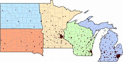 5 state map showing distribution of Midwest Kidney Network ESRD facilities